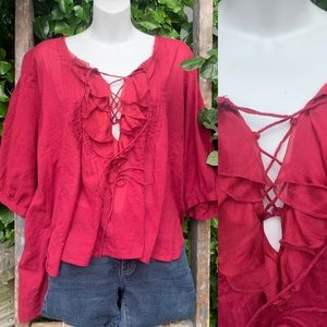 Free People cranberry blouse S